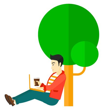student study: An asian man with cup of coffee studying in park using a laptop vector flat design illustration isolated on white background.