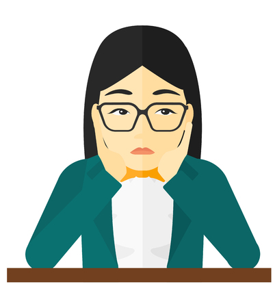 An asian woman in despair clutching her head vector flat design illustration isolated on white background.