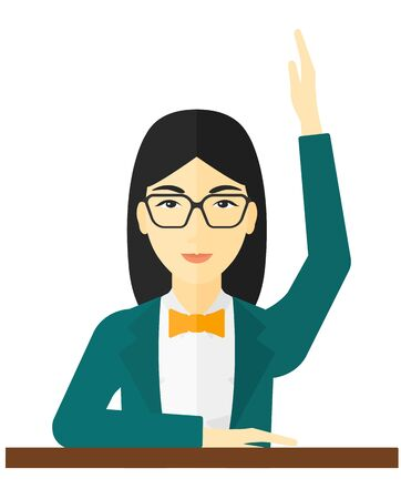 female student: An asian woman raising her hand while sitting at the table vector flat design illustration isolated on white background.