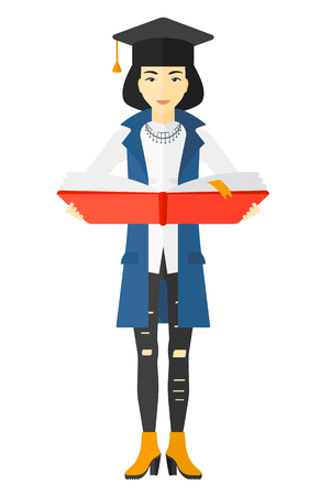 graduate asian: An asian woman in graduation cap with an open book in hands vector flat design illustration isolated on white background.
