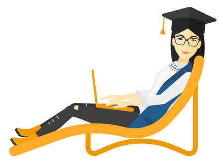 lying in: An asian woman in graduation cap lying in chaise long with laptop vector flat design illustration isolated on white background. Illustration