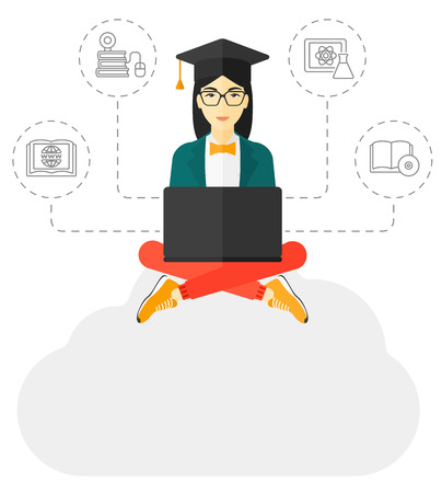 A graduate sitting on the cloud looking at the laptop screen and some icons connected to the laptop vector flat design illustration isolated on white background.