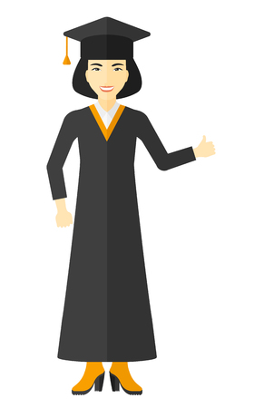 Graduate in cloak and hat showing thumb up sign vector flat design illustration isolated on white background. Ilustração