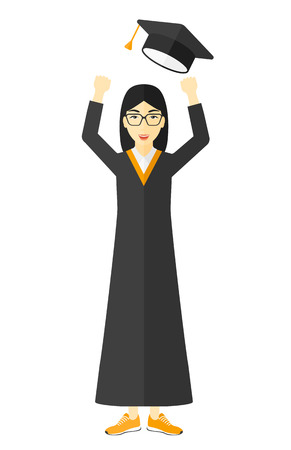 lenght: Happy graduate throwing up her hat vector flat design illustration isolated on white background. Illustration