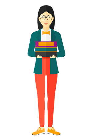 female student: An asian woman holding pile of books vector flat design illustration isolated on white background.