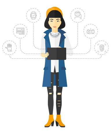 An asian woman standing with a tablet computer and some icons connected to the laptop vector flat design illustration isolated on white background.