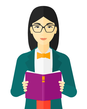 An asian woman reading a book vector flat design illustration isolated on white background. Ilustração