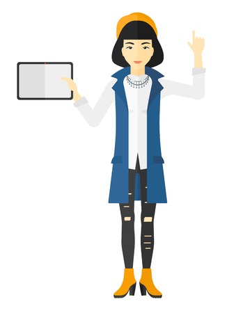 woman pointing up: An asian woman standing with a tablet computer and pointing her forefinger up vector flat design illustration isolated on white background.