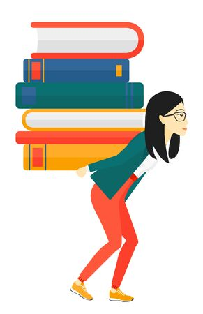 back problem: An asian woman carrying a pile of books on her back vector flat design illustration isolated on white background.
