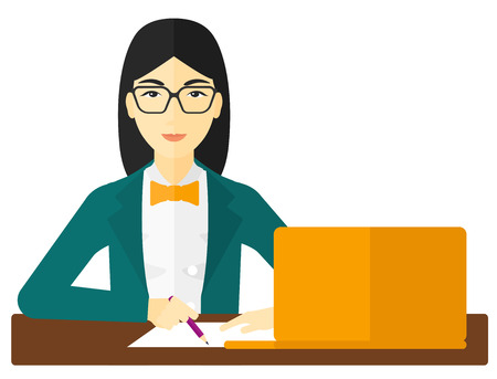 asian student: An asian woman sitting in front of laptop and taking some notes vector flat design illustration isolated on white background. Illustration