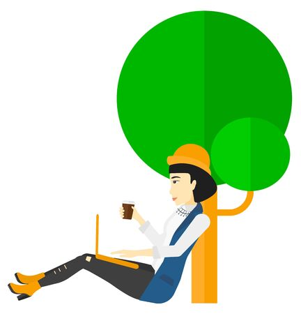 woman using laptop: An asian woman with cup of coffee studying in park using a laptop vector flat design illustration isolated on white background.