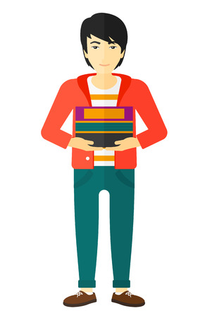 An asian man holding pile of books vector flat design illustration isolated on white background.