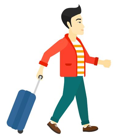 An asian man walking with a suitcase vector flat design illustration isolated on white background.