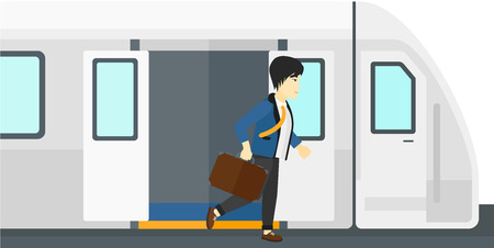 going out: An asian man going out of the train vector flat design illustration isolated on white background. Illustration