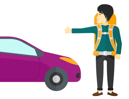 wanderer: An asian traveler hitchhiking trying to stop a car vector flat design illustration isolated on white background.