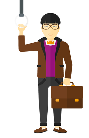 handgrip: An asian man with a suitcase standing inside a train vector flat design illustration isolated on white background. Illustration