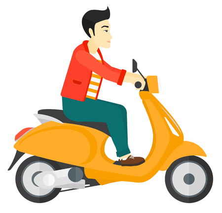 An asian man riding a scooter vector flat design illustration isolated on white background.