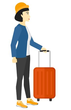 An asian woman standing with a suitcase vector flat design illustration isolated on white background.