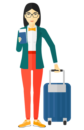 An asian woman standing with suitcase and holding a passport with ticket in hand vector flat design illustration isolated on white background.