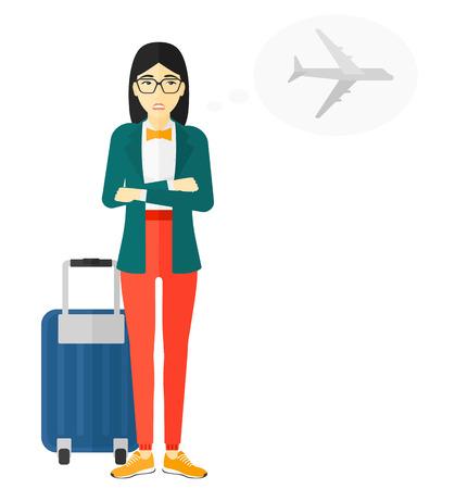 shaken: An asian woman frightened by future flight vector flat design illustration isolated on white background. Illustration