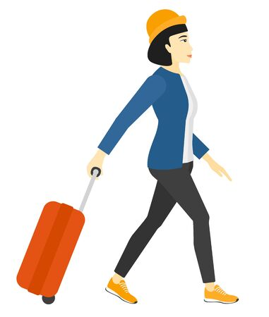 full length woman: An asian woman walking with a suitcase vector flat design illustration isolated on white background.