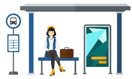 An asian woman waiting for a bus at a bus-stop vector flat design illustration isolated on white background. 일러스트