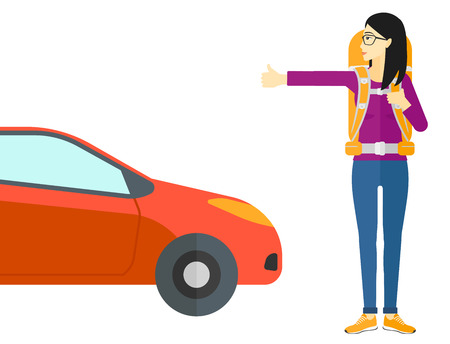 hitch hiker: An asian traveler hitchhiking trying to stop a car vector flat design illustration isolated on white background.