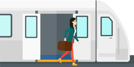 going out: An asian woman going out of the train vector flat design illustration isolated on white background. Illustration