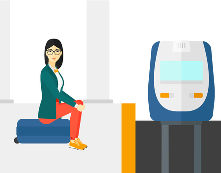 An asian woman sitting on a railway platform and waiting for a train vector flat design illustration isolated on white background. Illustration