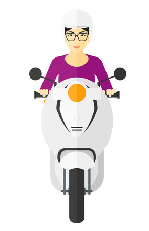 woman girl: An asian woman riding a scooter vector flat design illustration isolated on white background.