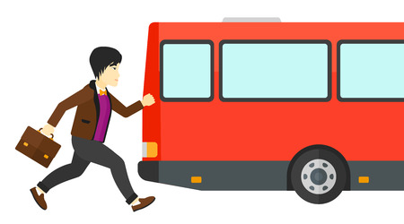 rushing: Latecomer man running along the sidewalk to reach the bus vector flat design illustration isolated on white background. Illustration