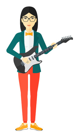 strum: An asian musician playing electric guitar vector flat design illustration isolated on white background.
