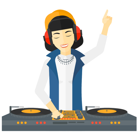 An asian DJ in eadphones with hand up playing music on turntable vector flat design illustration isolated on white background.