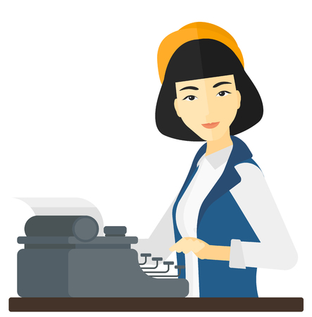 An asian reporter writing an article on her typewriter vector flat design illustration isolated on white background.