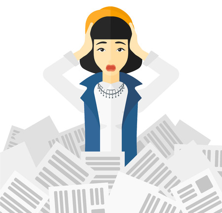 pile of newspapers: An asian woman clutching her head because of having a lot of work to do with a heap of newspapers in front of her vector flat design illustration isolated on white background.