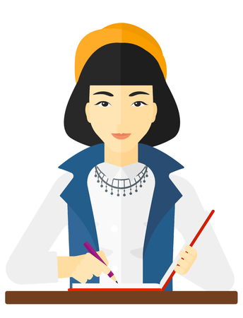 newsman: An asian reporter writing an article in her writing-pad vector flat design illustration isolated on white background. Illustration