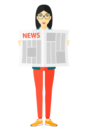 gazette: An asian reporter reading the newspaper with her article vector flat design illustration isolated on white background.