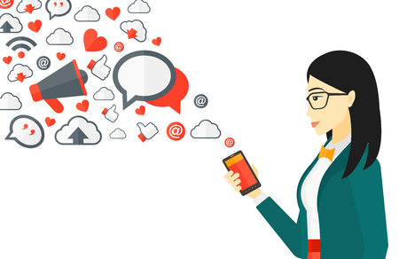 network and media: An asian woman using smartphone with lots of social media application icons flying out vector flat design illustration isolated on white background.