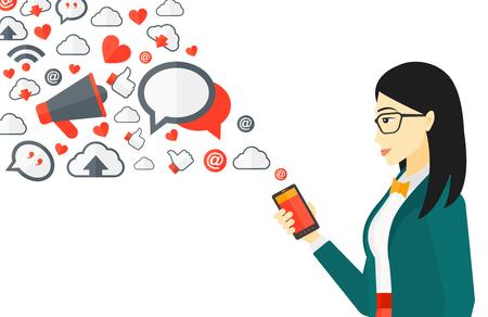 interaccion social: Una mujer asiática que usa smartphone con una gran cantidad de iconos de aplicaciones de medios sociales que vuelan ilustración vectorial diseño plano aislado en el fondo blanco.