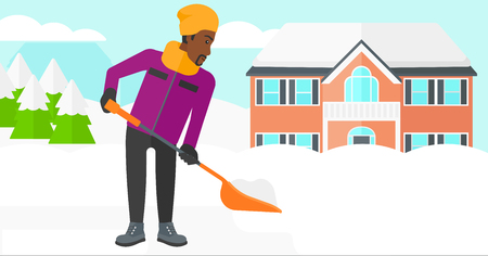 shoveling: An african-american man shoveling and removing snow in front of house  vector flat design illustration. Vertical layout. Illustration