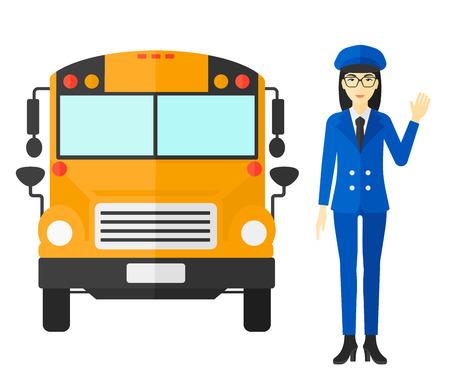 Un conductor asiático de pie en frente del autobús vector de la escuela ilustración diseño plano aislado en el fondo blanco.