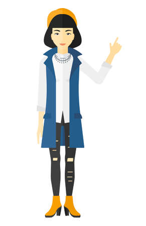 woman pointing up: An asian woman pointing up with her forefinger vector flat design illustration isolated on white background. Stock Photo