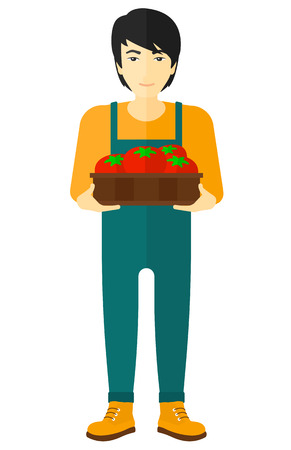 asian farmer: An asian farmer holding a box with tomatoes vector flat design illustration isolated on white background.