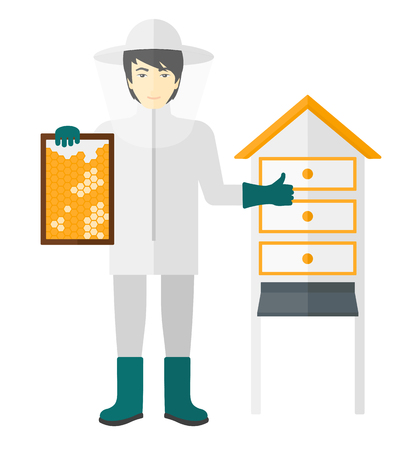 An asian beekeeper in protective suit working at apiary holding a framework in hand and showing thumb up vector flat design illustration isolated on white background. Vetores
