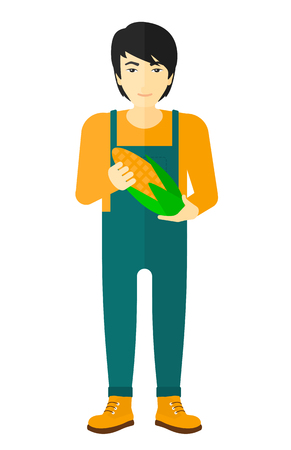 agriculturist: An asian agriculturist holding a corn cob vector flat design illustration isolated on white background. Illustration