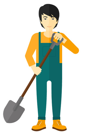 asian farmer: An asian farmer digging with a spade vector flat design illustration isolated on white background.