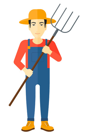 An asian farmer standing with a pitchfork vector flat design illustration isolated on white background.