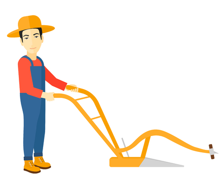 plow: An asian farmer using a plough vector flat design illustration isolated on white background.