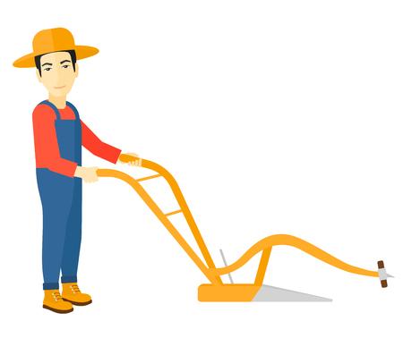 An asian rolnik stosując pług wektor płaskim projektowania ilustracji na białym tle. Ilustracje wektorowe