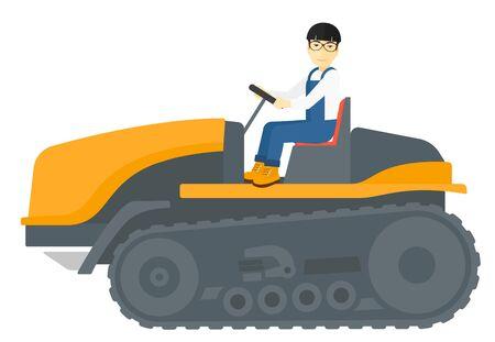 labranza: Un granjero asi�tico conducir un tractor de orugas de ilustraci�n vectorial dise�o plano aislado en el fondo blanco. Vectores